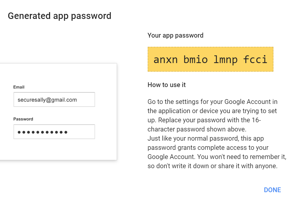 Create Google App Password 16-digit passcode Gmail