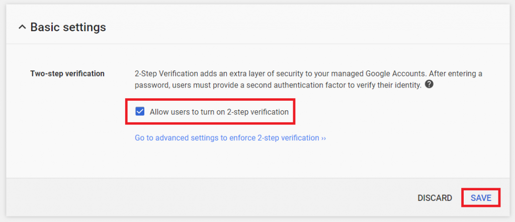 G Suite - turn on 2-step verification