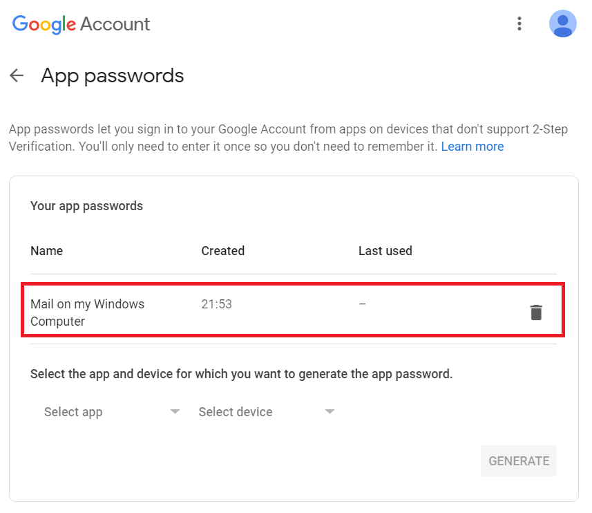 My generated Google app passwords