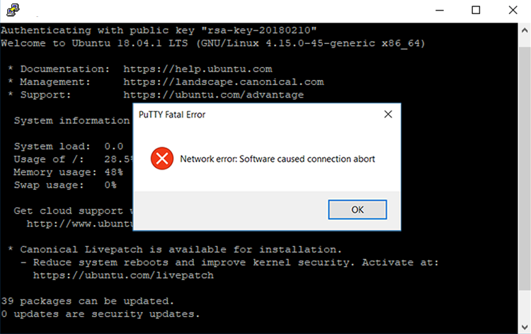 PuTTY Network Error: Software caused connection abort