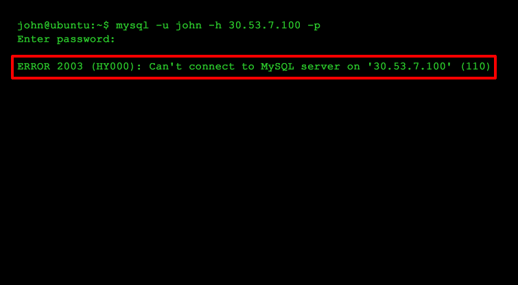 Can't connect to MySQL server