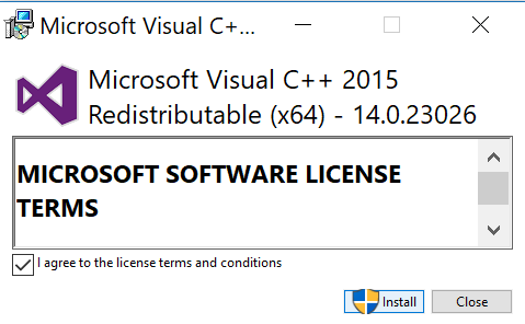 Install Visual C++ Redistributable for Visual Studio 2015
