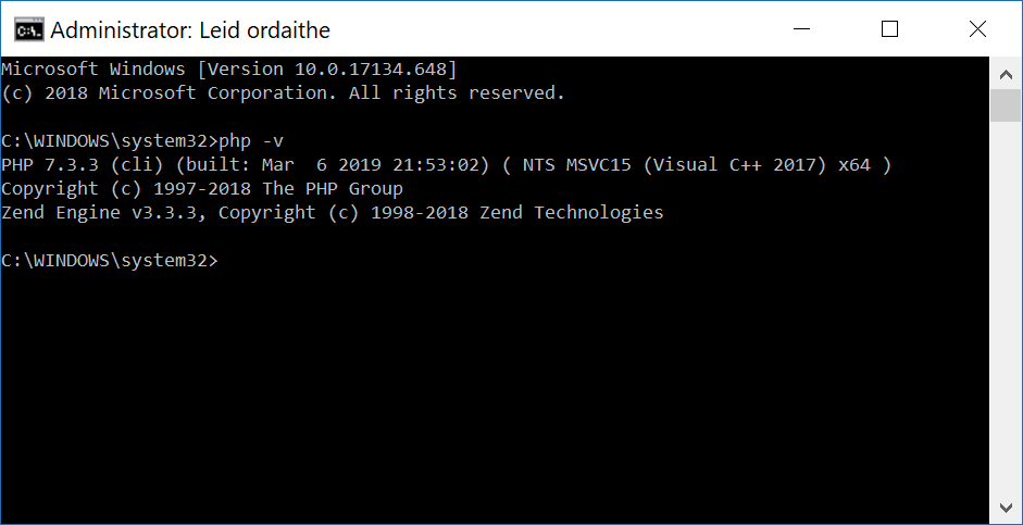 Windows 10 PHP 7 in Command Prompt