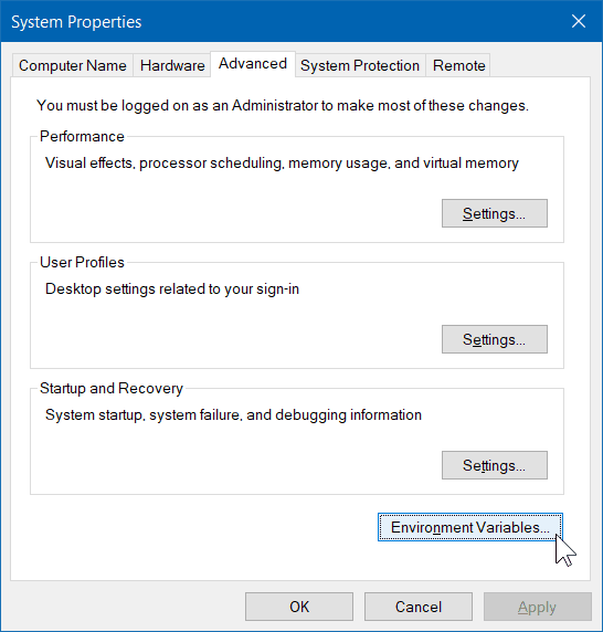 Windows 10 System Properties