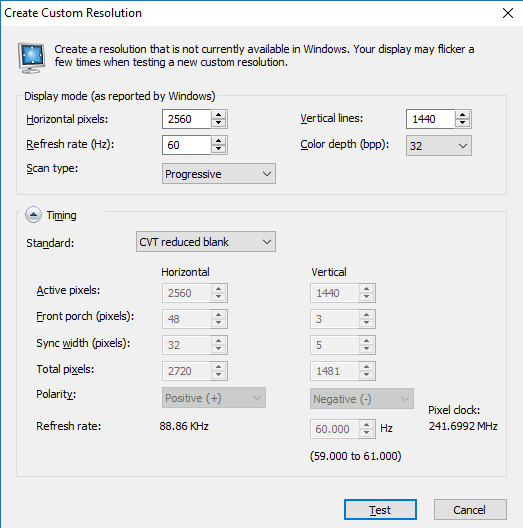 Create Custom Resolution - Nvidia Geforce Windows 10