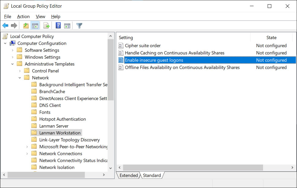 Windows 10 Enable insecure guest logins policy